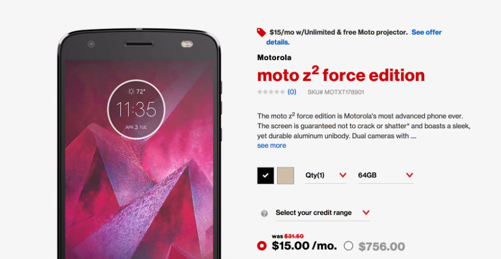 Moto Z2 Force Up for Pre-Order Through Verizon, Specs Confirmed
