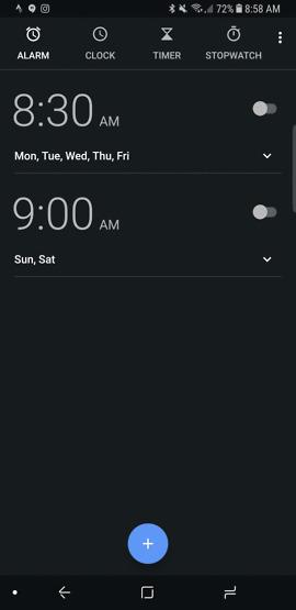 google clock dark mode
