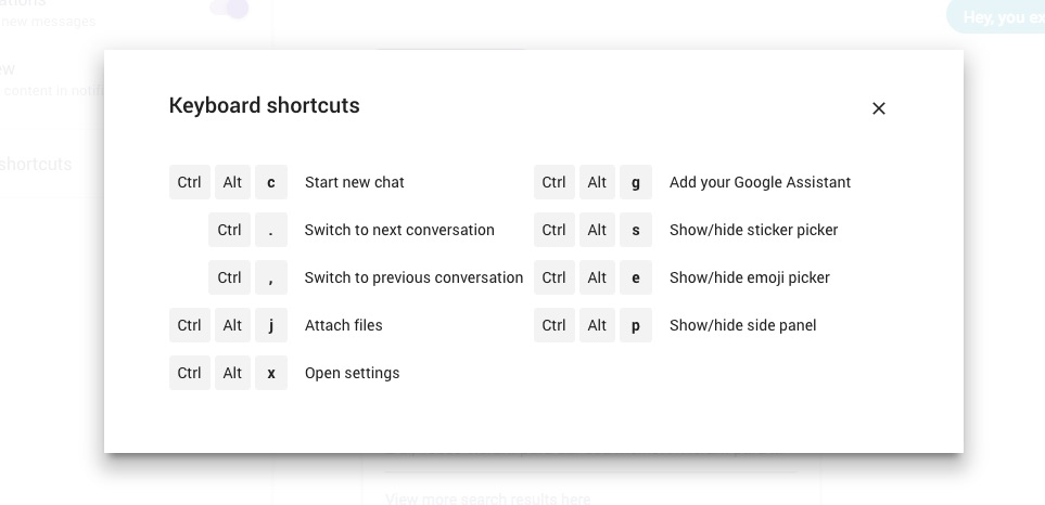 allo keyboard shortcuts