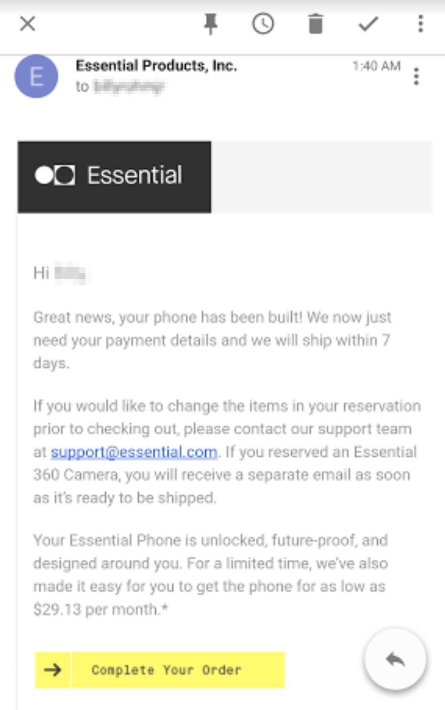 352email Readycontact Usco Ltd Mail: Essential Phone Is Ready For Purchase, But Only In Black