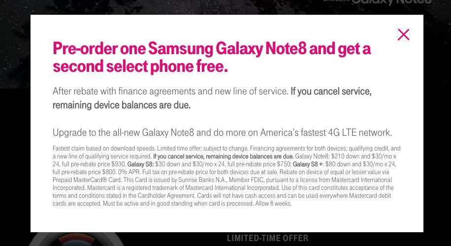 t-mobile galaxy note 8 bogo deal