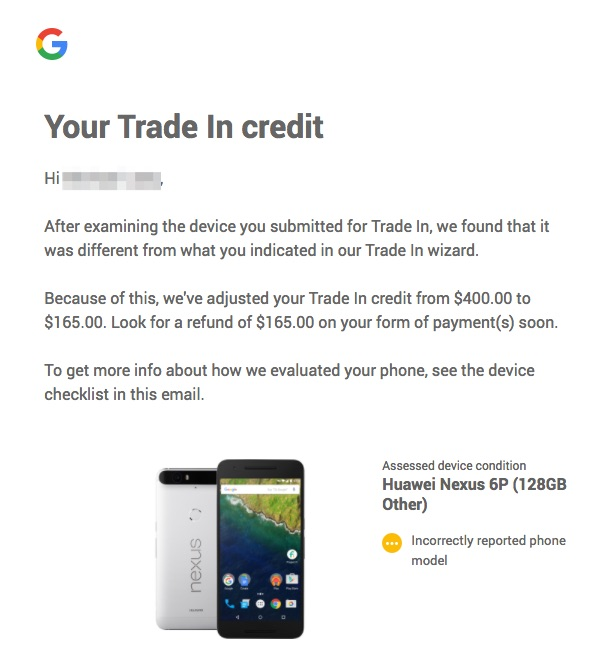 bad google pixel 2 trade-in