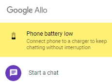 allo battery warning