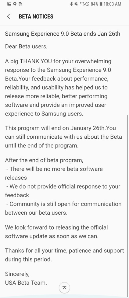 galaxy s8 oreo beta update end