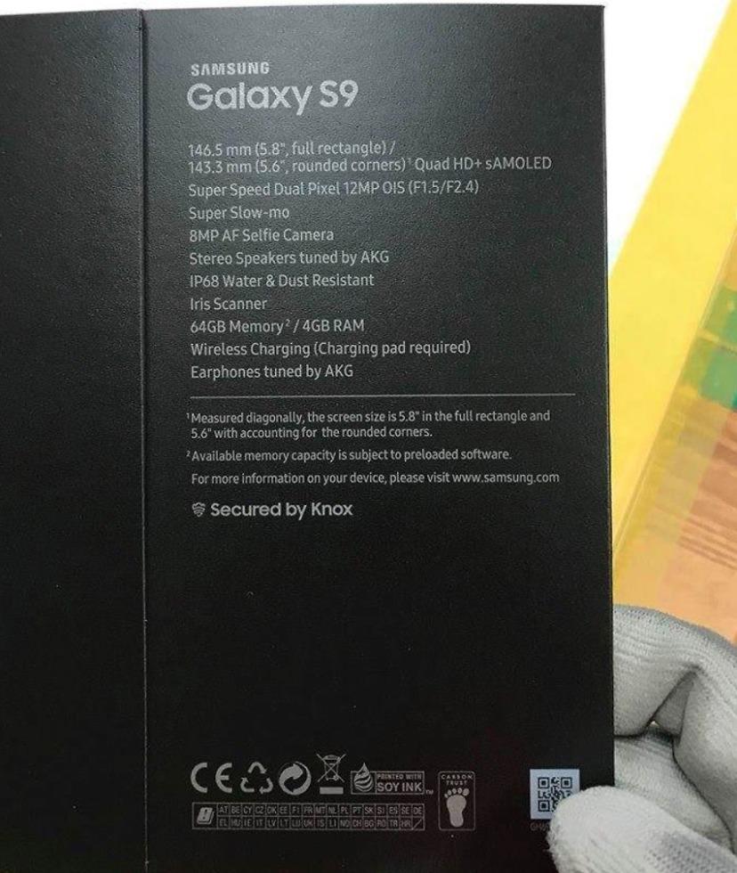 galaxy s9 box specs