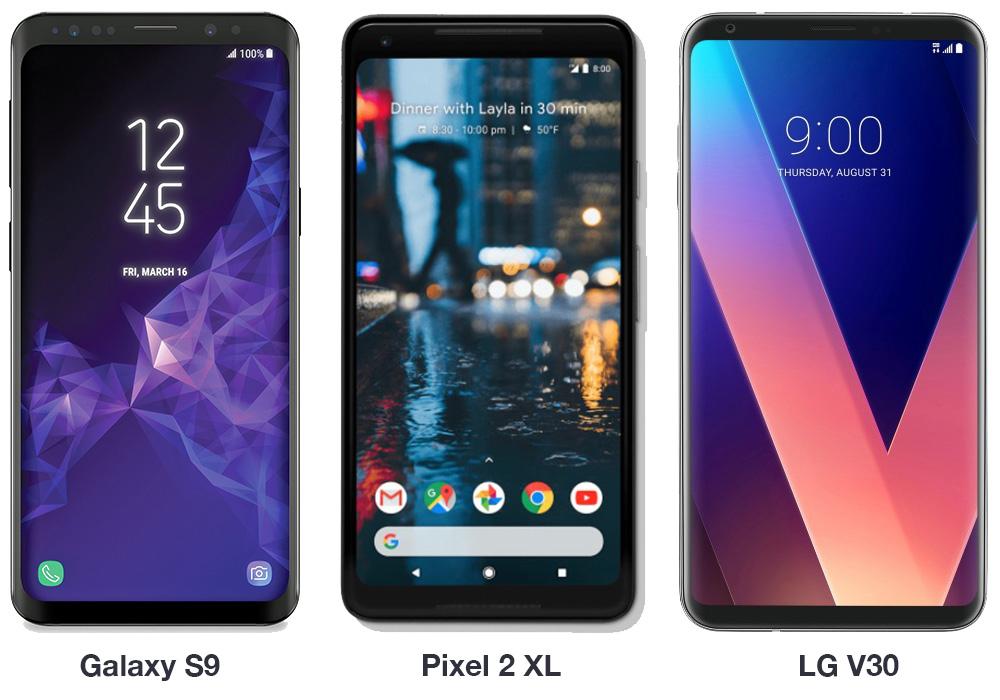 galaxy s9 vs pixel 2 xl vs v30