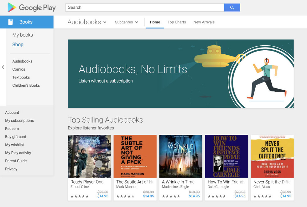 Google Play Audiobooks