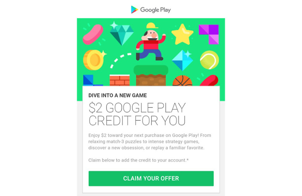 google is handing out free 2 google play credits right now droid life