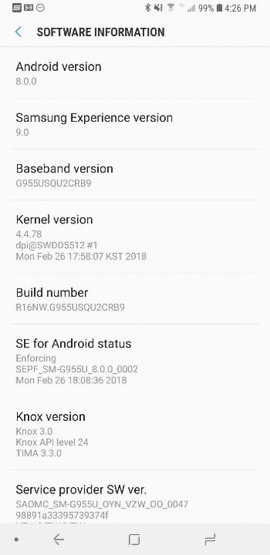 verizon galaxy s8 oreo update