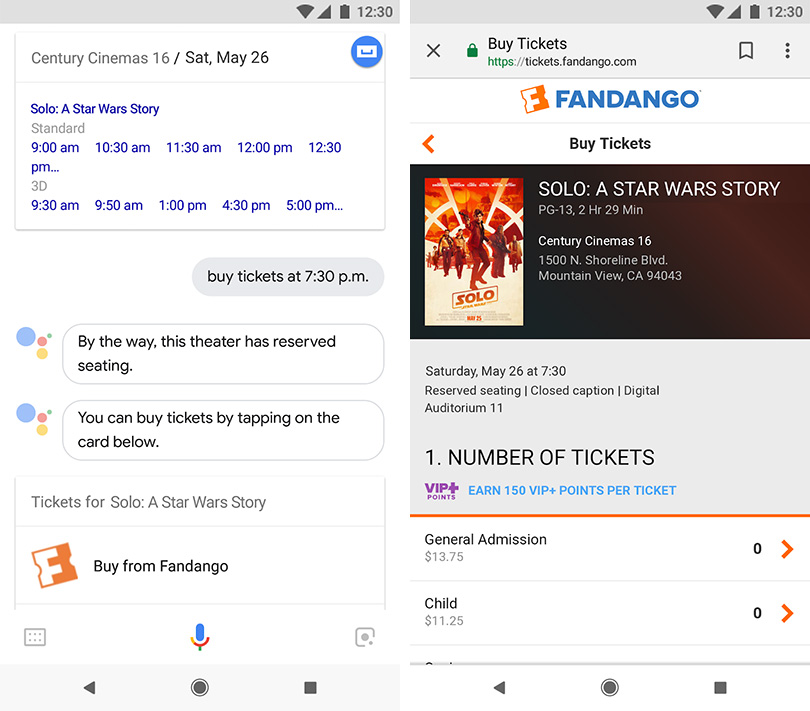 Google Assistant, Fandango help you buy movie tickets via voice