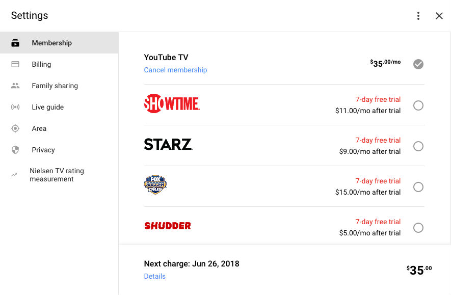 Starz is Now on YouTube TV, Costs $9/Month After 7 Day Trial