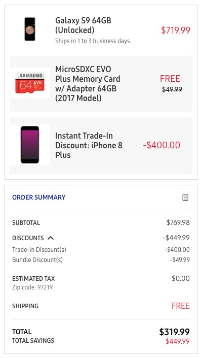 DEAL: Samsung Will Drop Instant $400 Off the Galaxy S9, S9+