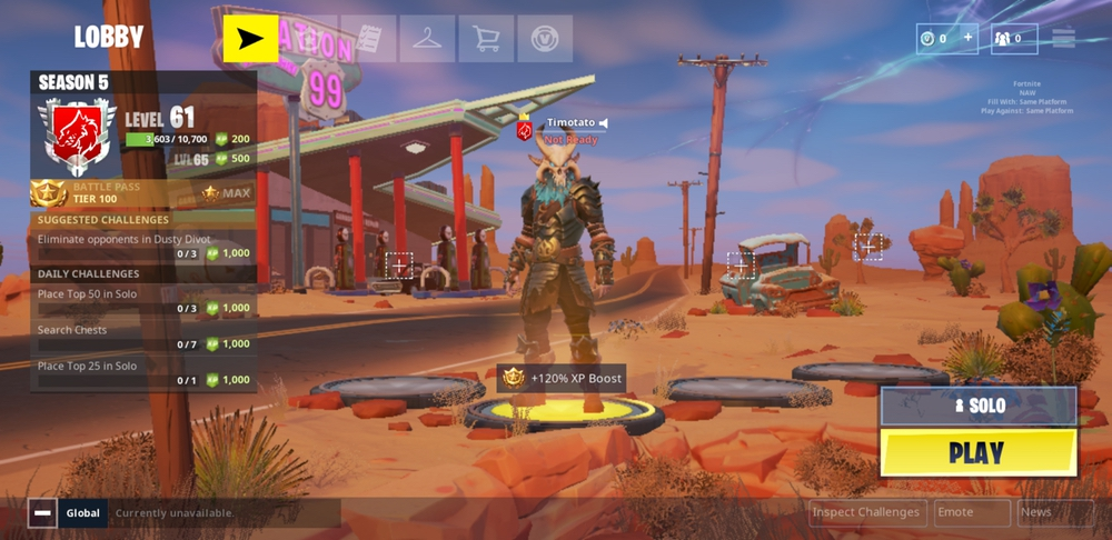 after loading into the home screen i was very pleased at the menu system and overall ui it looks extremely similar to how it does on console and pc - hud scale fortnite xbox