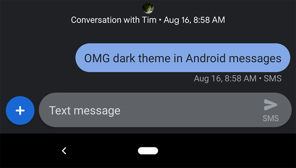 Android Messages Dark Mode