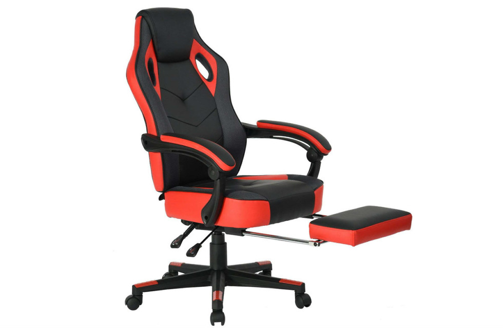 Deal Racing Computer Chair With Footrest For Snoozing In