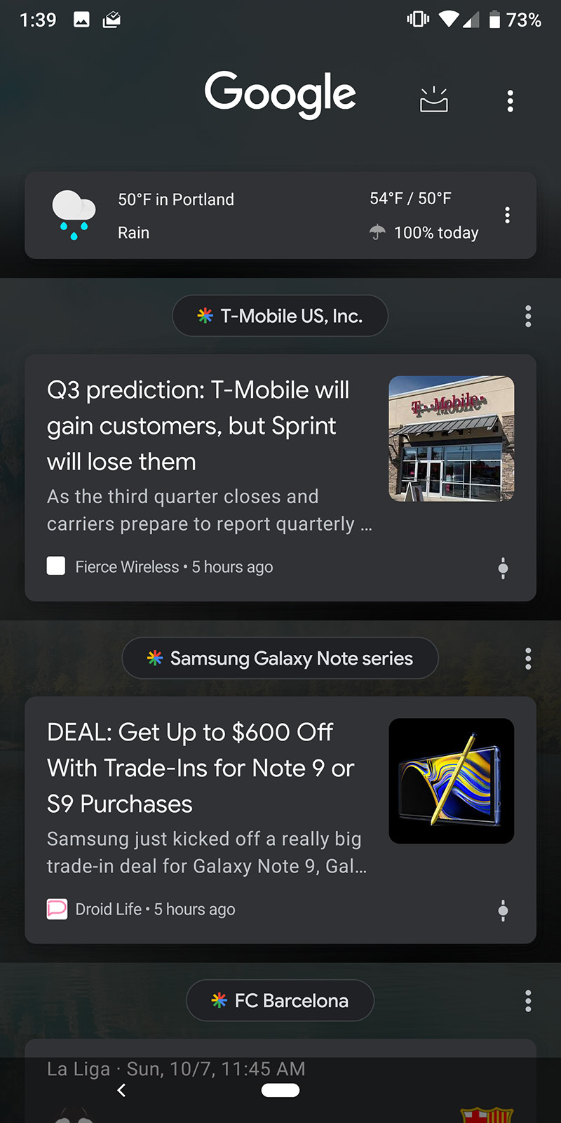 Google Discover Dark Theme