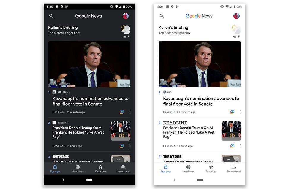 google news gets a dark theme droid life