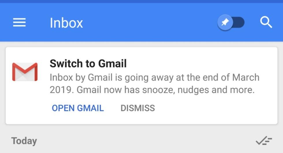 Inbox switch to Gmail