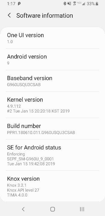 Verizon Galaxy S9 One UI Update
