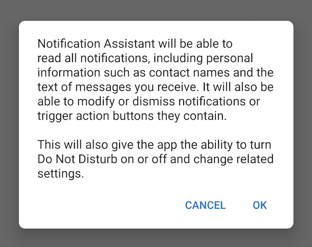 Android notification wizard Q