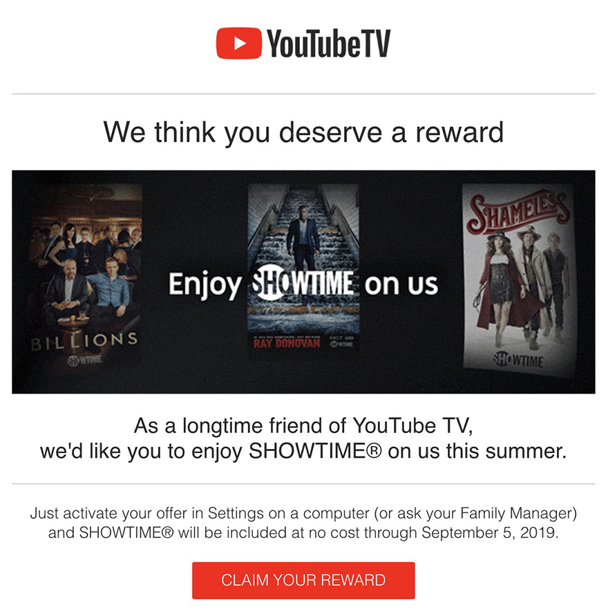 YouTube TV Free Showtime