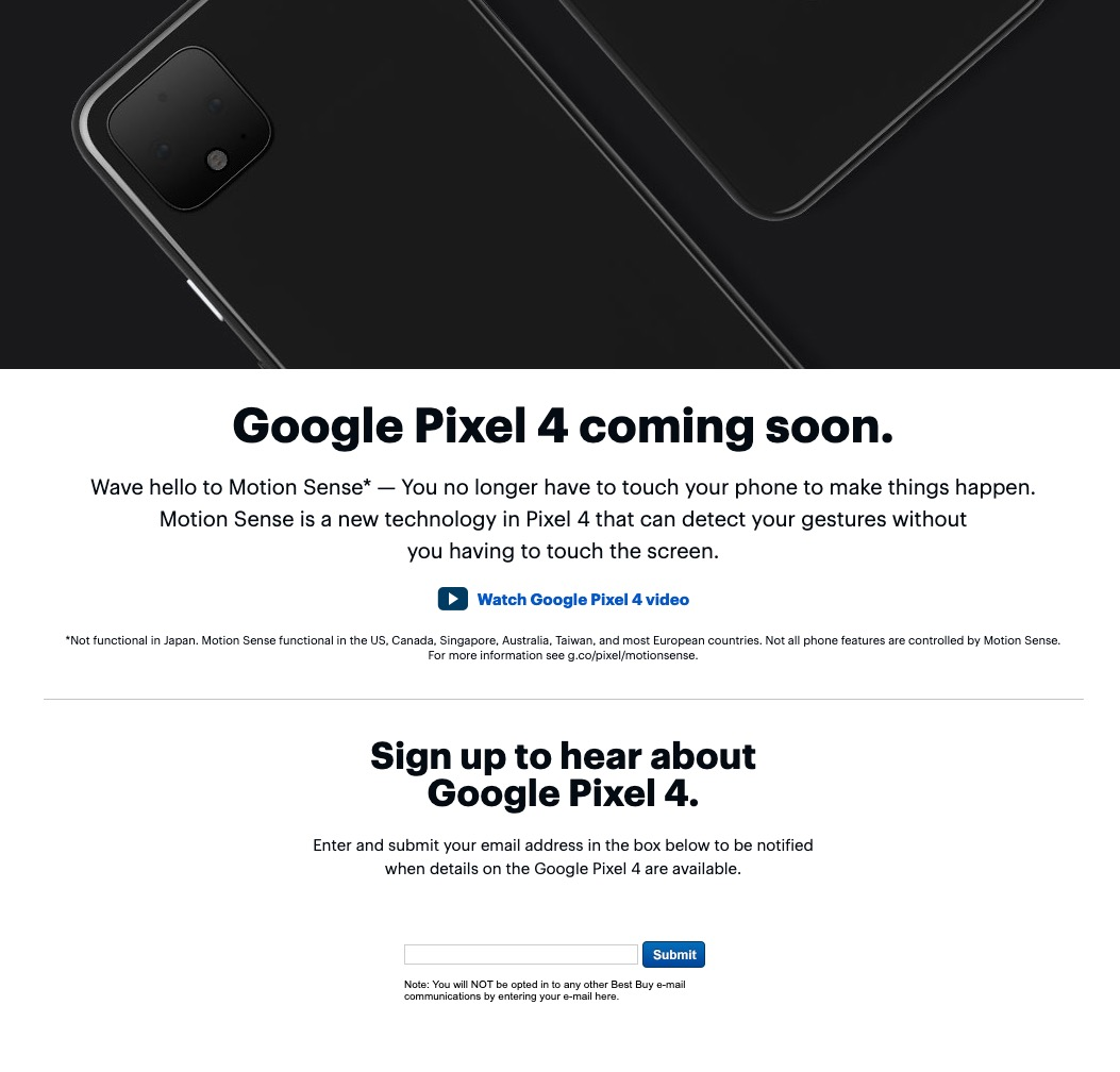 "Best Buy Posts a Pixel 4 ""Coming Soon"" Page – Droid Life"