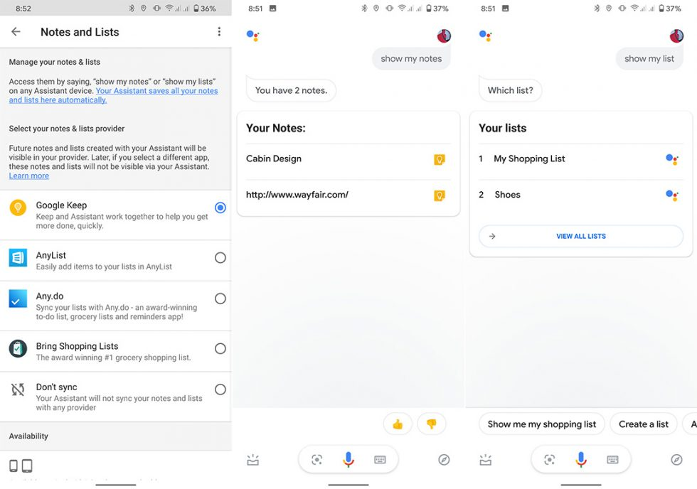 Google Assistant Notes, Shopping List