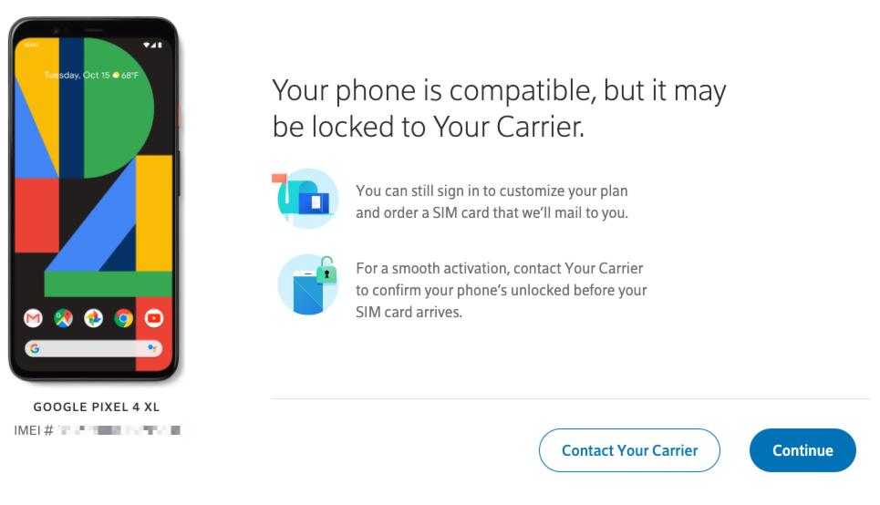 Xfinity Mobile Pixel BYOD