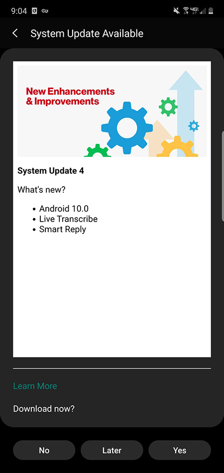Note 10 Android 10 Update