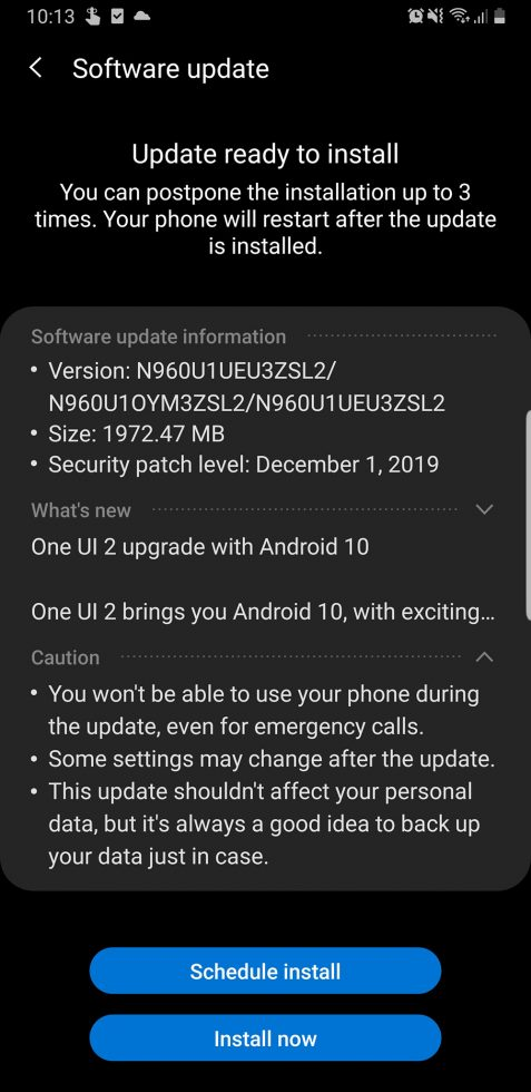 Note 9 One UI 2 Beta