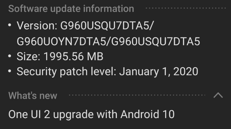 Galaxy S9 Android 10 Update