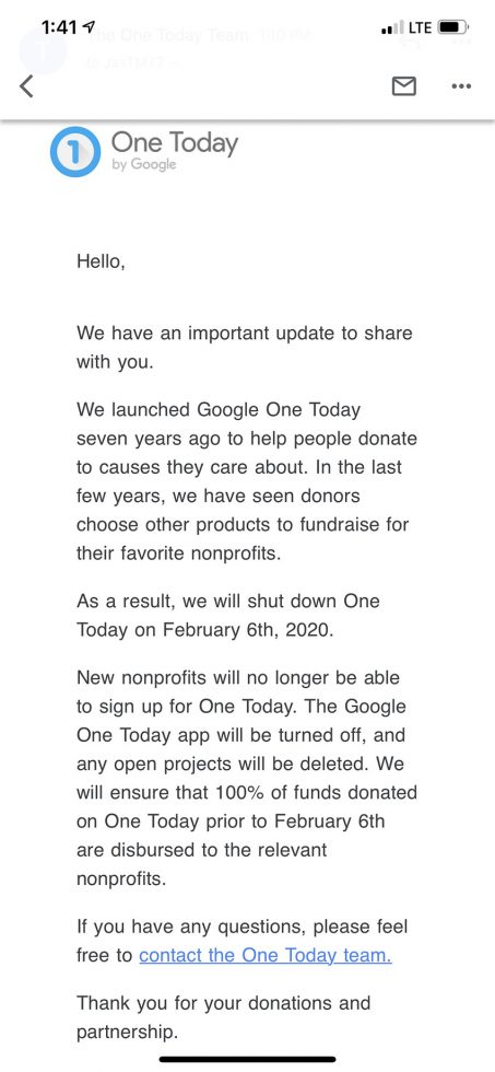 Google One Today Shutdown