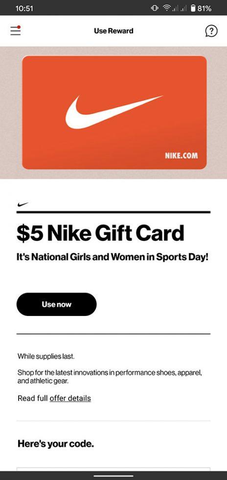 Verizon Free Nike Gift Card