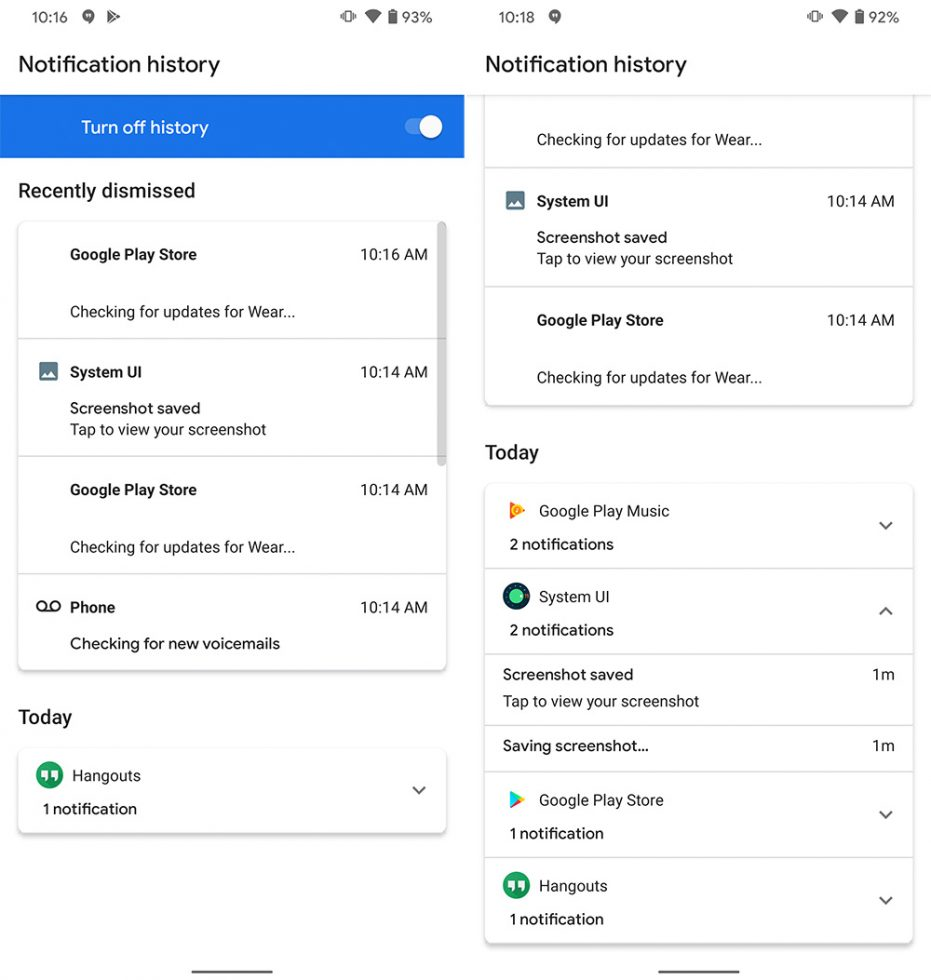 Android 11 Notification History