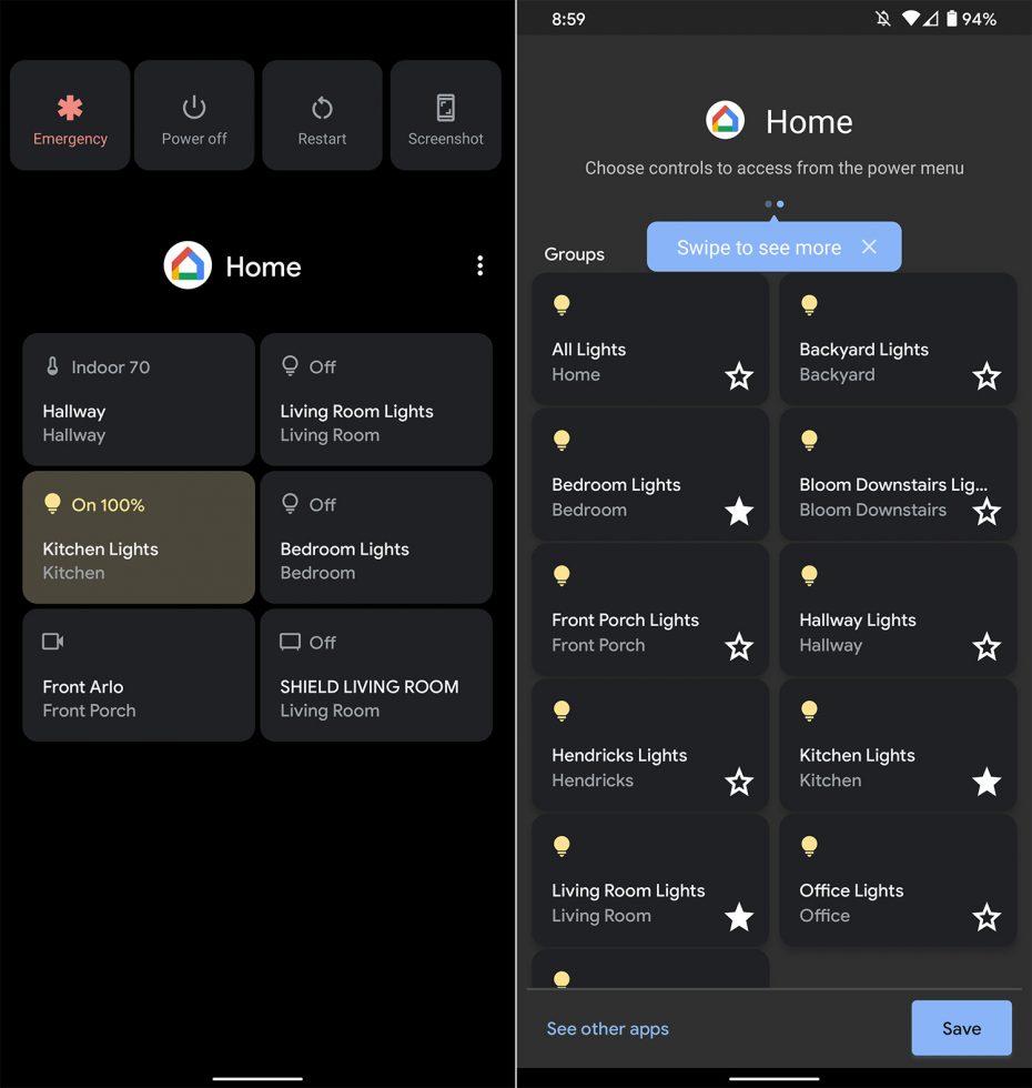 Google Home Quick Controls