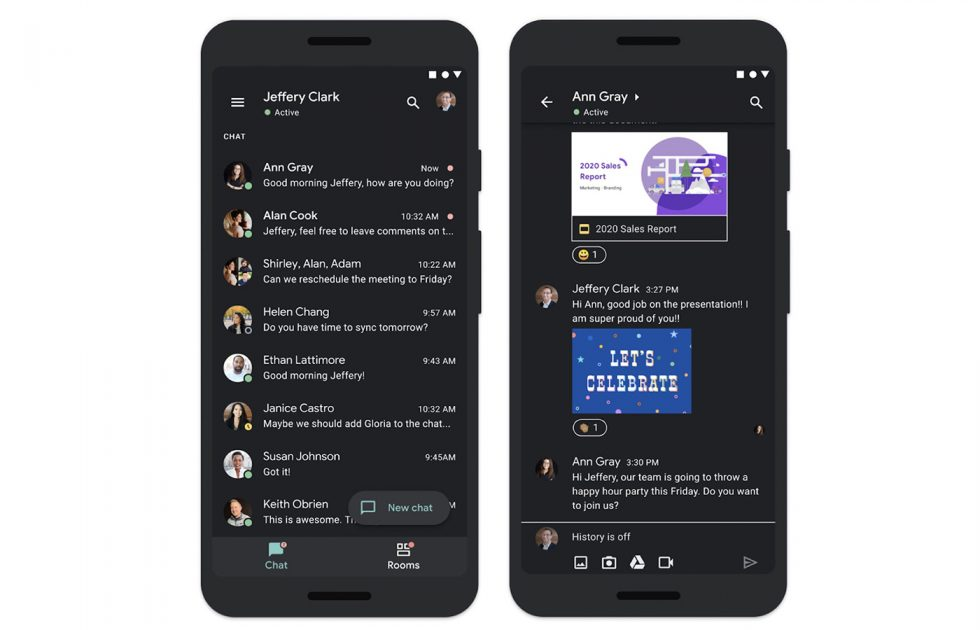 Google Chat Dark Theme