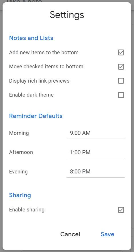 Google Keep Remind Times-1