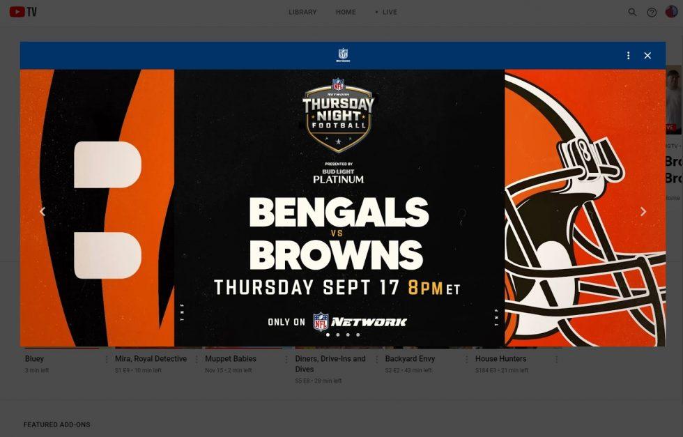 YouTube TV NFL Network