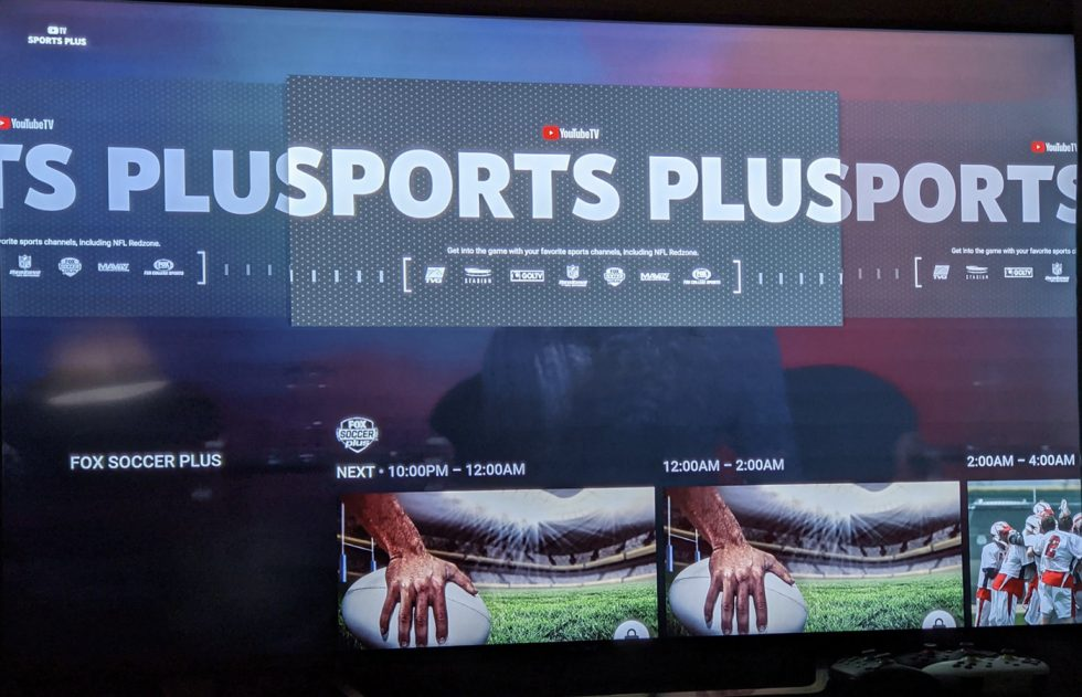 YouTube TV Sports Plus Package