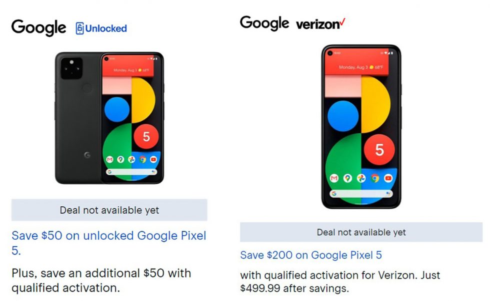 Google Pixel 5 Black Friday Deal