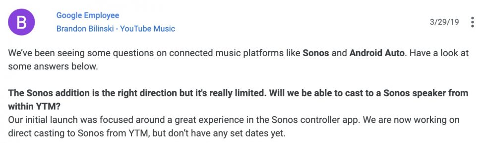 YouTube Music Sonos Casting