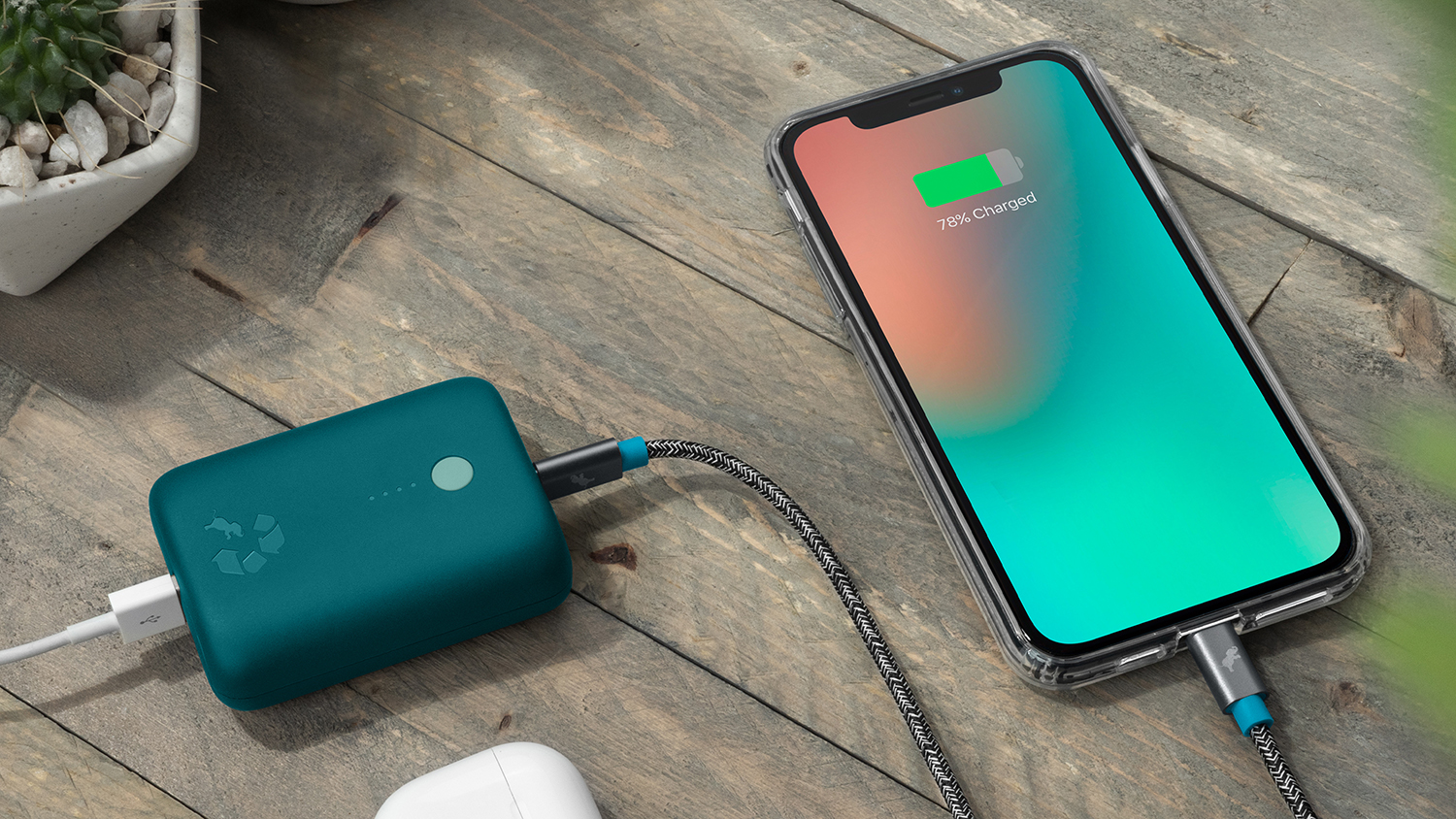 Champ 10k Turquoise Charging iPhone Airpods Cafe Table SQ 1