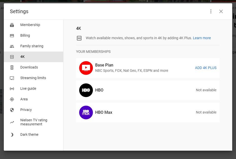 4K YouTube TV