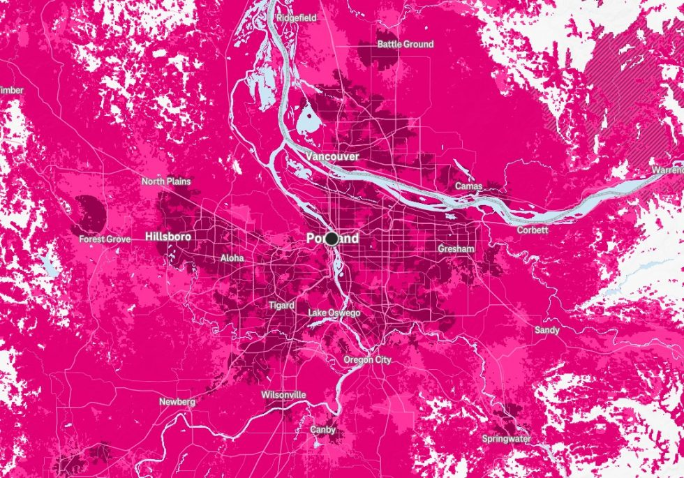 Portland T-Mobile 5G Map