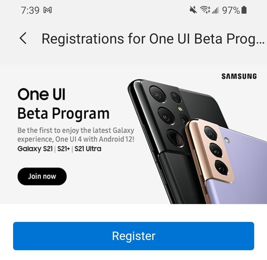 One UI 4 Register
