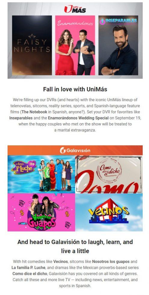 Youtube TV Unimas, Galavision