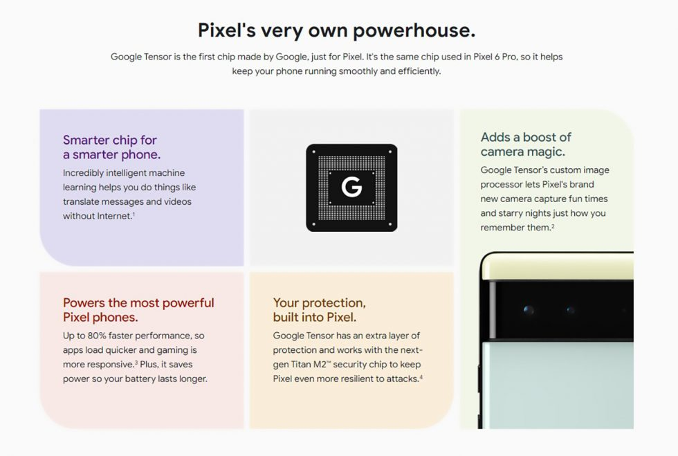 Tensor de Google en Pixel 6